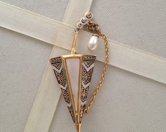Vintage 1960's Spain Faux Pearl Umbrella Brooch