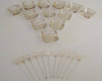 Open Salts Vintage Set Of Twelve Plus Eleven Spoons