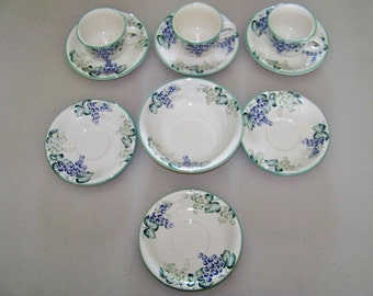 Grape Bower Corning Saucers & Cups And A Cereal Bowl