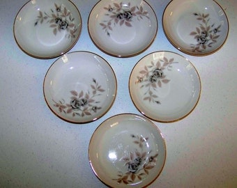 Mikasa Rosecrest Fine China Set Of Six Fruit Or Dessert Bowls