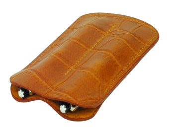 Leather Double Pen Sleeve, Handmade,Tan Crocodile Grain Leather, Fits 2 Pens