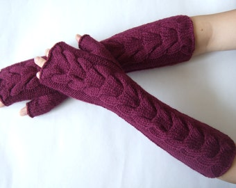 Knitted of ALPACA and WOOL. Soft and warm handmade deep RUBY fingerless gloves, wrist warmers, fingerless mittens. Pure wool. Cable gloves.