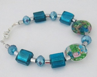 Teal Lampwork Bracelet, Mother's Day Gift, Birthday Gift, Anniversary Gift, Gift for Her, Gift for Mum, Friend Gift, Daughter Gift