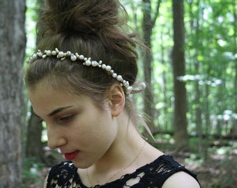 Flower crown Festival floral crown Rustic bridal circlet boho hippie flower halo Woodland wedding flower crown elven flower headband SPARROW