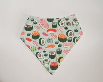 Bandana Bib - Sushi print backed with Polar Fleece