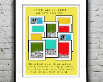 25 Pack Bundle Art Print Posters Mix and Match Your Choice any Cities, Colors, Size