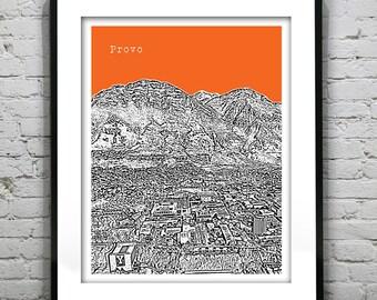 Provo Skyline Poster Print Art Utah UT