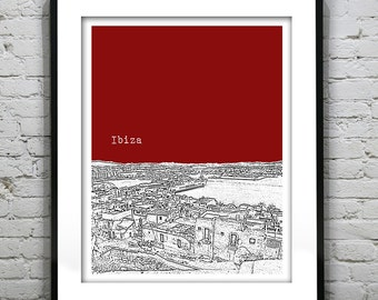 Ibiza Skyline Art Print Poster Spain Version 2