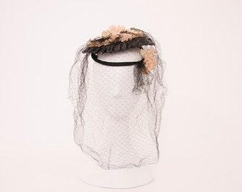Vintage 1930s Flowers on Black Straw Disc Hat & Black Netting • Revival Vintage Boutique