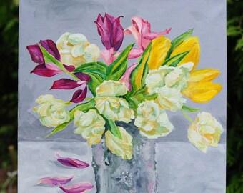 White Purple Yellow Tulips Original Oil painting