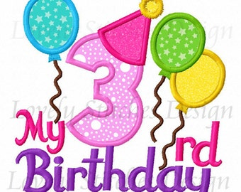 My 3rd Birthday Applique Machine Embroidery Design NO:0326