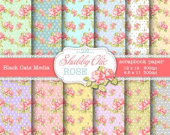 Shabby Chic Digital paper 12 x 12 in AND 8.5x11 in - all colors - Shabby chic rose  for scrapbooking, invites, cards, instant download
