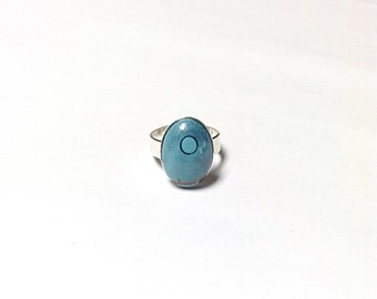 Turquoise colored ring, retro ring, night sky ring, upcycled ring, repurposed ring