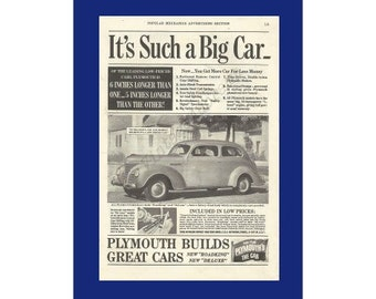 "PLYMOUTH AUTOMOBILE Original 1939 Vintage Black & White Print Ad - ""It's Such A Big Car"""