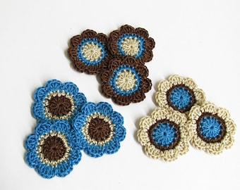 Crochet flowers, 9 pc., handmade appliques, crochet motifs in blue brown cream, 1,4 inches