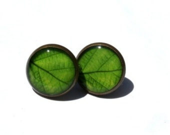 GREEN EARRING STUDS - Green leaf earrings - Green Leaves - Nature I heart - nature lover gift - green leaf studs - resin - gift for her