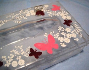 Vintage Wolff Products Co. Lucite clear pink maroon butterfly butterflies white flowers plastic Acrylic tissue box holder case hinged cover
