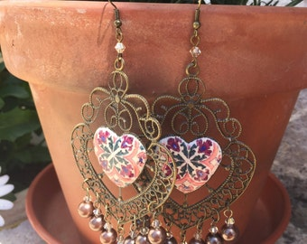 Beautiful Big Earrings, with filigree and Portuguese tiles replica.