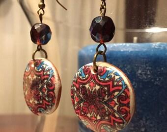 Beautiful Earrings in Bordeaux Color