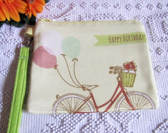 Happy Birthday Wallet with Hand Strap-  Printed Pattern Combed and Green Cotton Fabric