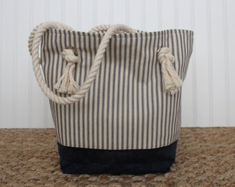 Ticking Tote - Ticking Handbag - Monogrammed Bag - Beach Bag - Market Bag - Waxed Canvas Bag - Nautical Bag - Rope Handle