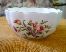 Small Minton Bowl Porcelain Gold Rimmed Scalloped Berry Bowl Marlow Pattern GIFT IDEA Perfect Condition
