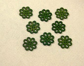 "10 Pieces 0.8"" Green Wooden buttons Circle Design"