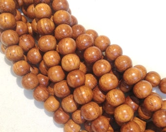 8mm Bayong Natural Wood Beads 16 inch Strand, 50 Beads