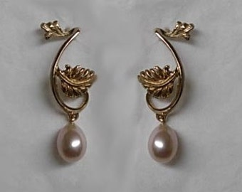 Parson's Leaf and Pearl Designer Earrings.  Swirling Vine and Leaves with a Cultured Pearl Dangle. Beautiful on the Ear!