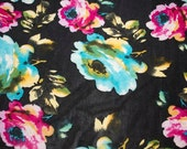 "Blues Pinks Black Floral ITY Print #83 2-Way Stretch Knit Polyester Lycra Spandex Apparel Craft Fabric 58""-60"" Wide By The Yard"