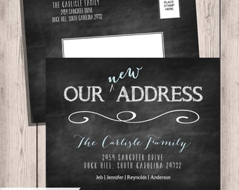 Moving Postcard, Chalkboard Moving Announcements, We've Moved , New Home, New Address Cards, Moving Cards, Change of Address, Printable