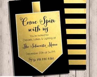 Custom Printable Hanukkah Invitation, Hanukkah Party, Come Spin with Us, Chanukkah Party, Jewish, Gold & Black, Double-sided