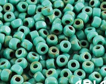 GREEN TURQUOISE Dark TRAVERTINE: Matubo Czech 6/o Three-Cut Faceted Table Cut Glass Seed Beads, 4.1mm (10 grams)