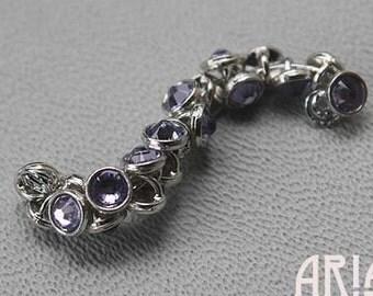 PROVENCE LAVENDER: Crystaletts 3mm Provence Lavender Swarovski Crystal Silver Plated Buttons (20)