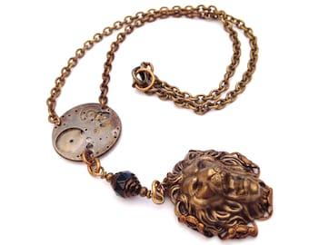 Lion Steampunk Necklace, steampunk jewelry