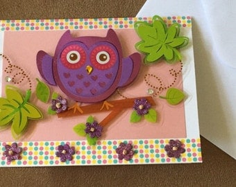 Owl always love you greeting card leaves purple 3-D