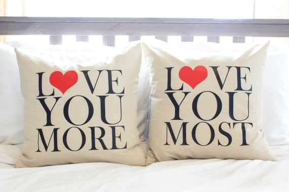 Pair Of Love You More Amp Most Pillows By Andersattic On Etsy