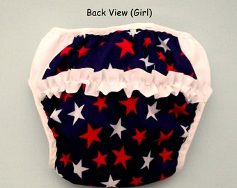 GIRL--Waterproof Potty Training Pants (With Ruffle) - Fourth of July Patriotic Stars