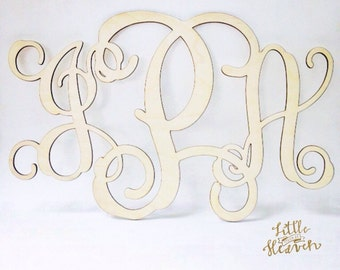 Wood Monogram wall decor 1/8 thin birch wood You choose the letters