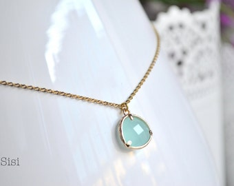 Green gold necklace pendant water facet