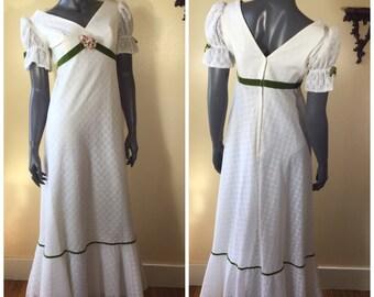 Vintage 70s Eyelet Dress,  70S  MAXI dRESS , Dress , 1970S White Eyelet  Dress, Vintage wedding Dress,  Prom Dress