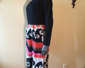 Vintage 60s HawAiiAN Maxi Dress with graphic print design size