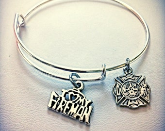 Firefighter Love Charm Bangle