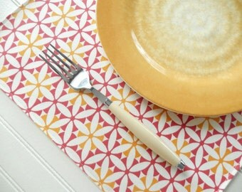 Placemats ~ Set of 5 ~ Fabric Placemats ~  Cloth Place Mats ~ Table Linens ~ Yellow Pink Placemats - Geometric Place Mats