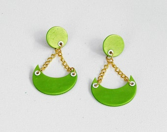 Lime Green Polymer Clay Earrings