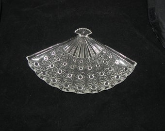 Pressed Glass Fan Shaped Dresser Vanity Bon Bon Tray