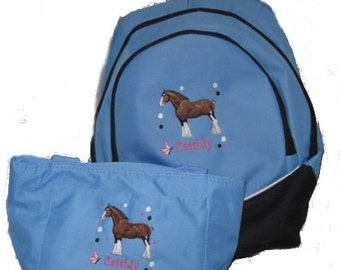 FREE SHIPPING - Personalized CLYDESDALE Horse Backpack & Lunch Bag school book monogrammed New