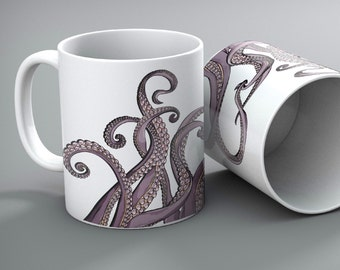 Set of 2 - Purple Tentacle Octopus Mugs