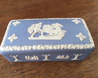 Vintage Blue Wedgwood Bas Relief Jasperware Jewelry Box
