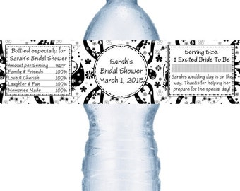 49 Black and White Bridal Shower Water Labels